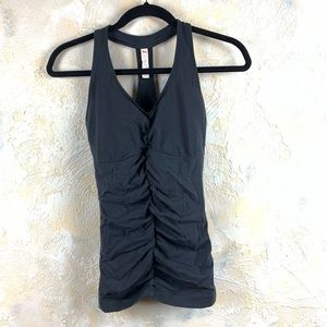 Lucy Dark Gray Mesh Cinched Tank Top 15